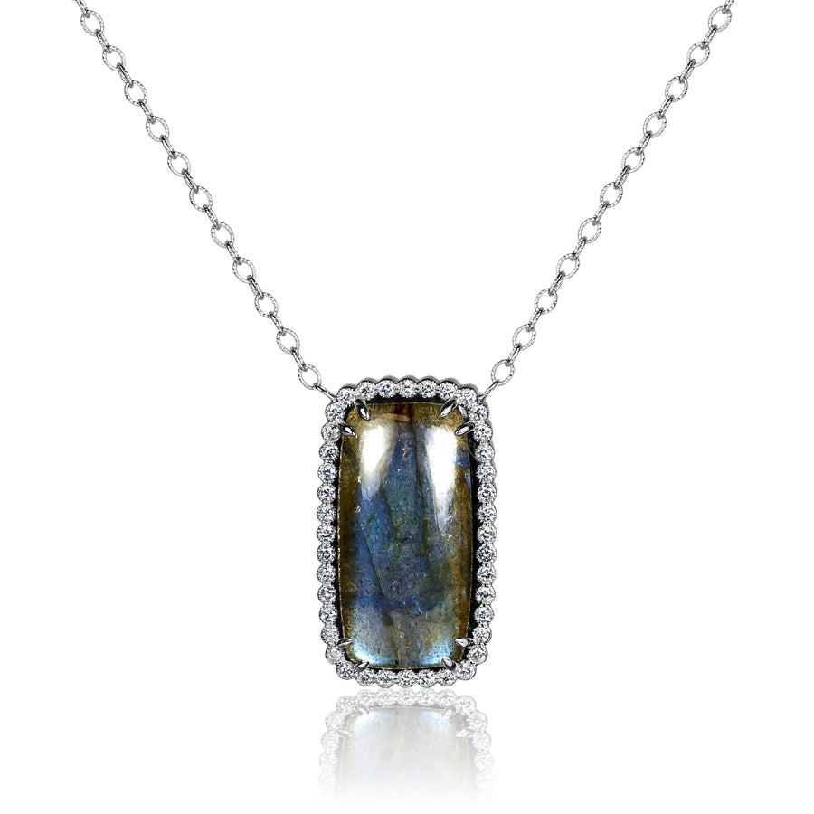 Labradorite and Diamond Stationed Pendant Necklace