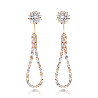 Star-Halo Studs with Removable Diamond Tear Drop Earrings Jacket