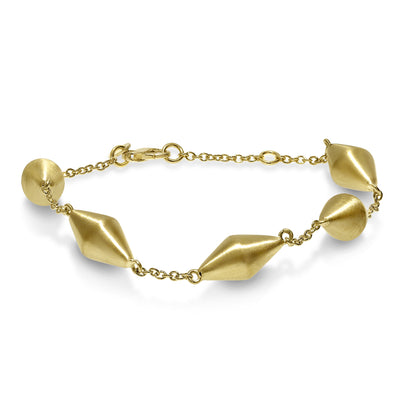Gold Dicone and Chain Bracelet