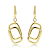 Gold Rectangle Link Drop Earrings