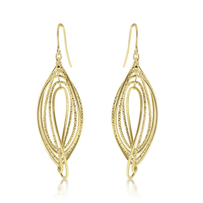 Gold Rippled Texture Figure-Eight Drop Earrings