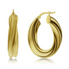 Gold Chunky Twisted Huggie Hoops