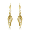 Gold Textured Circle Link Drop Earrings