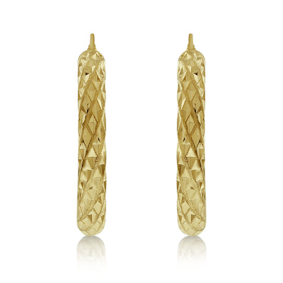 Gold Chunky Diamond Cut Hoops