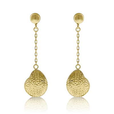 Gold Hammered Leaf Drop Earrings