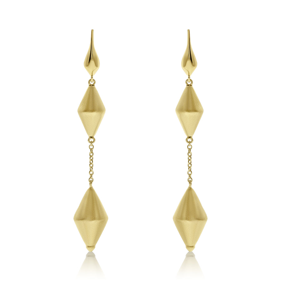 Gold Chain Linked Dicone Drop Earrings