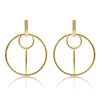 Gold Textured Floating Circle Link Drop Earrings