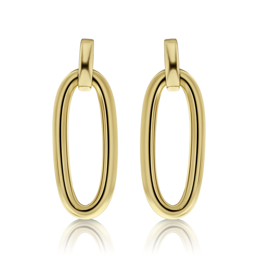 Gold Chunky Oval Drop Earrings
