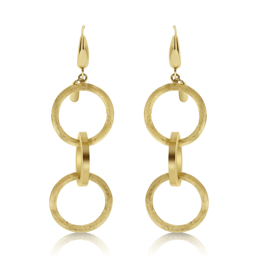 Gold Textured Triple Circle Link Drop Earrings