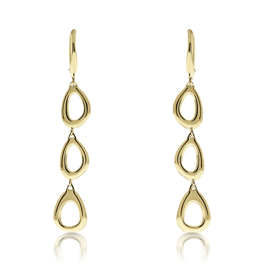 Gold Triple Open Free-Form Drop Earrings