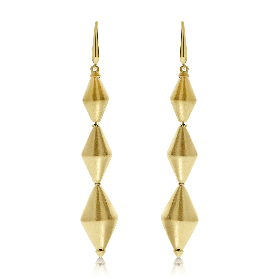 Gold Dicone Drop Earrings