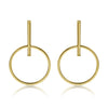 Gold Globe Stiff Drop Stud Earrings