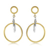 Gold Mixed Metal Suspended Circle Link Drop Earrings