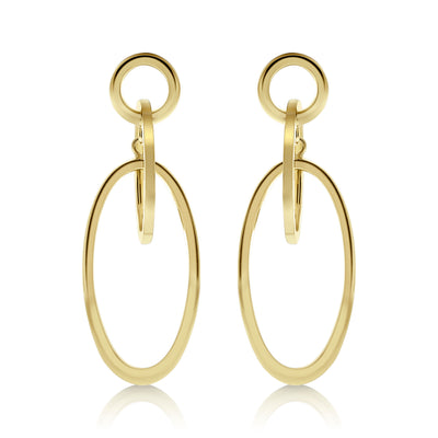 Gold Suspended Oval Link Drop Earrings