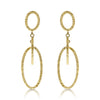 Gold Textured Suspended Oval Link Drop Earrings