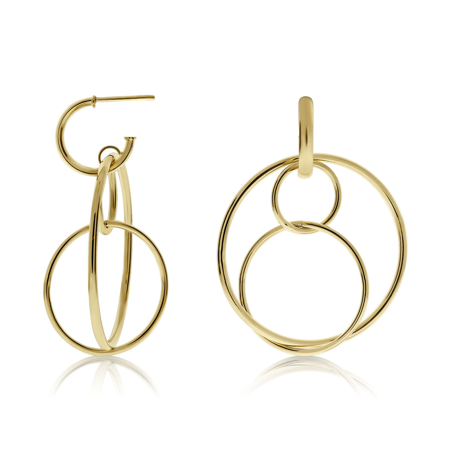 Gold Floating Circle Link Drop Earrings