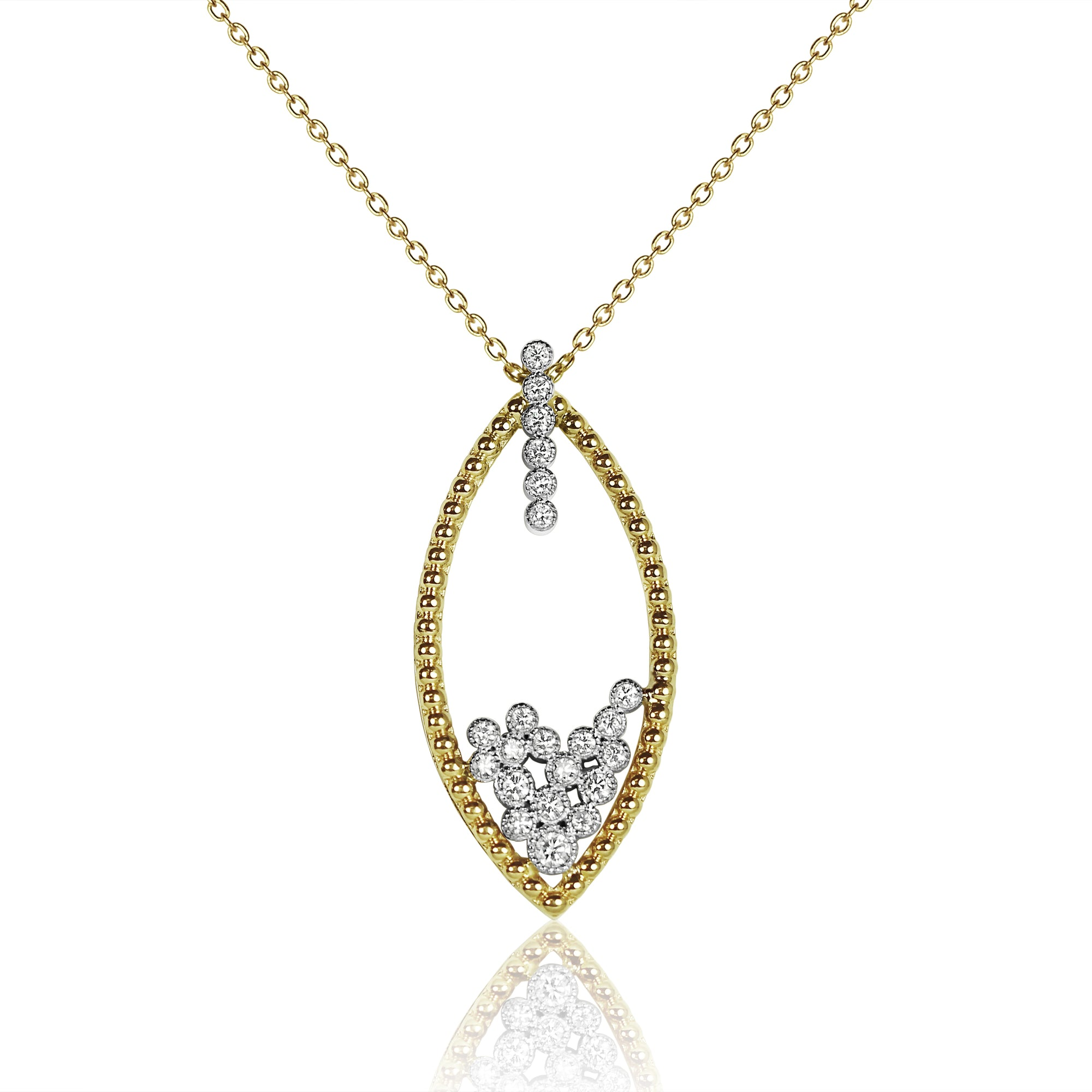silver inlay azar set petra diamonds heart bezel of and necklace pendant gold with