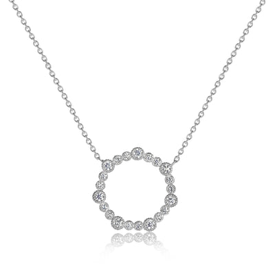 Rippled Fluted Bezel Stationary Heptagon Pendant with Cable Chain