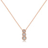Three Stone Halo Pendant with Cable Chain - Vertical