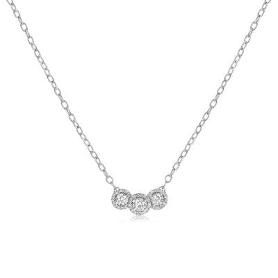 Three Stone Halo Stationary Pendant with Cable Chain