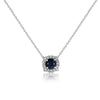 Solitaire Pointed Halo Stationary Pendant with Cable Chain- Sapphire