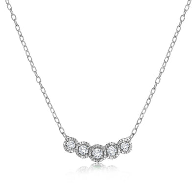 Five Stone Halo Stationary Pendant with Cable Chain
