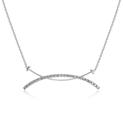 Saturn Bar Necklace with Cable Chain
