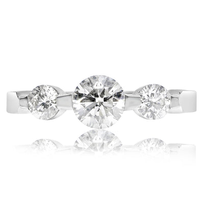 3 Stone Engagement Ring With Tapered Single Prongs