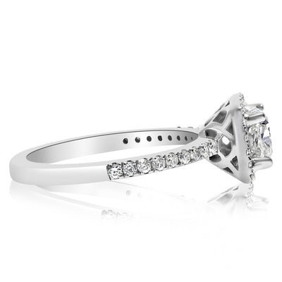 Square Halo Engagement Ring - 1 CTW Center