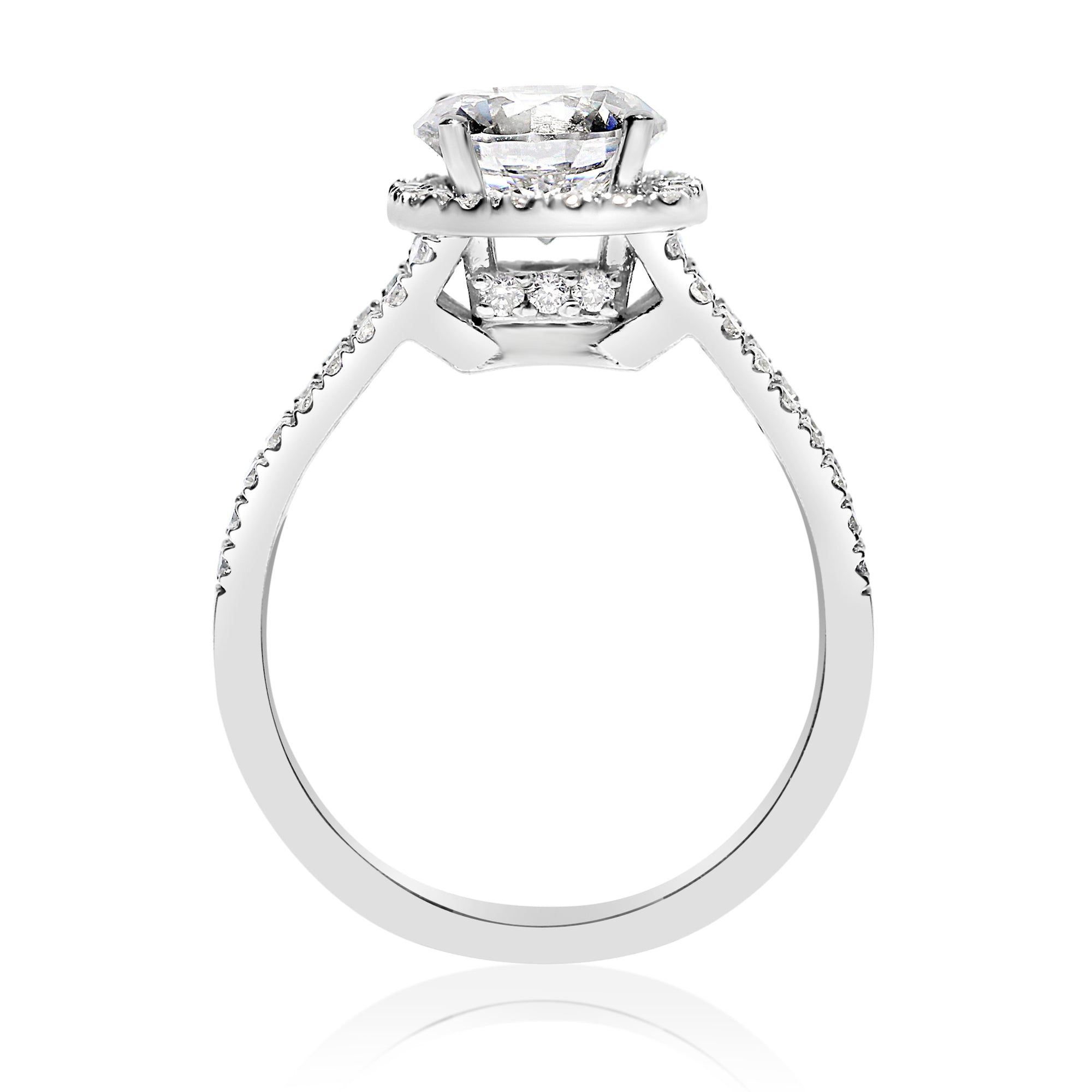 shank engagement ctw center square diamond halo ring split nei products rounded