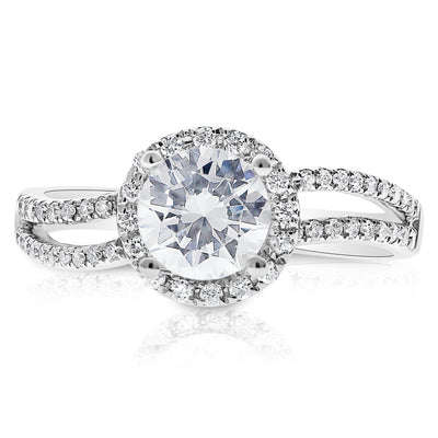 bel rings viaggio one forever ring cut shank products ctw moissanite colorless designs cushion engagement twist