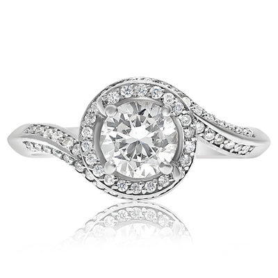 Halo Swirl Engagement Ring - 1 CTW Center