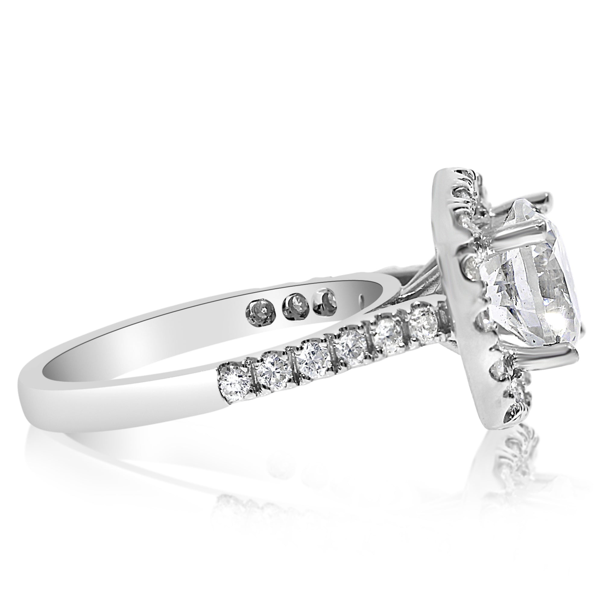 saturn halo engagement products square rounded shank ring stone with rings ctw center