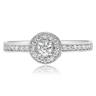 Dainty Bezeled Halo Ring - 0.10 CTW Center