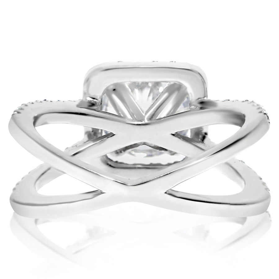 Rounded  Square Halo Engagement Ring With Saturn Shank - 2 CTW Center