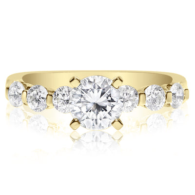 7 Stone Single Prong Engagement Ring - 0.10 Carat Diamonds
