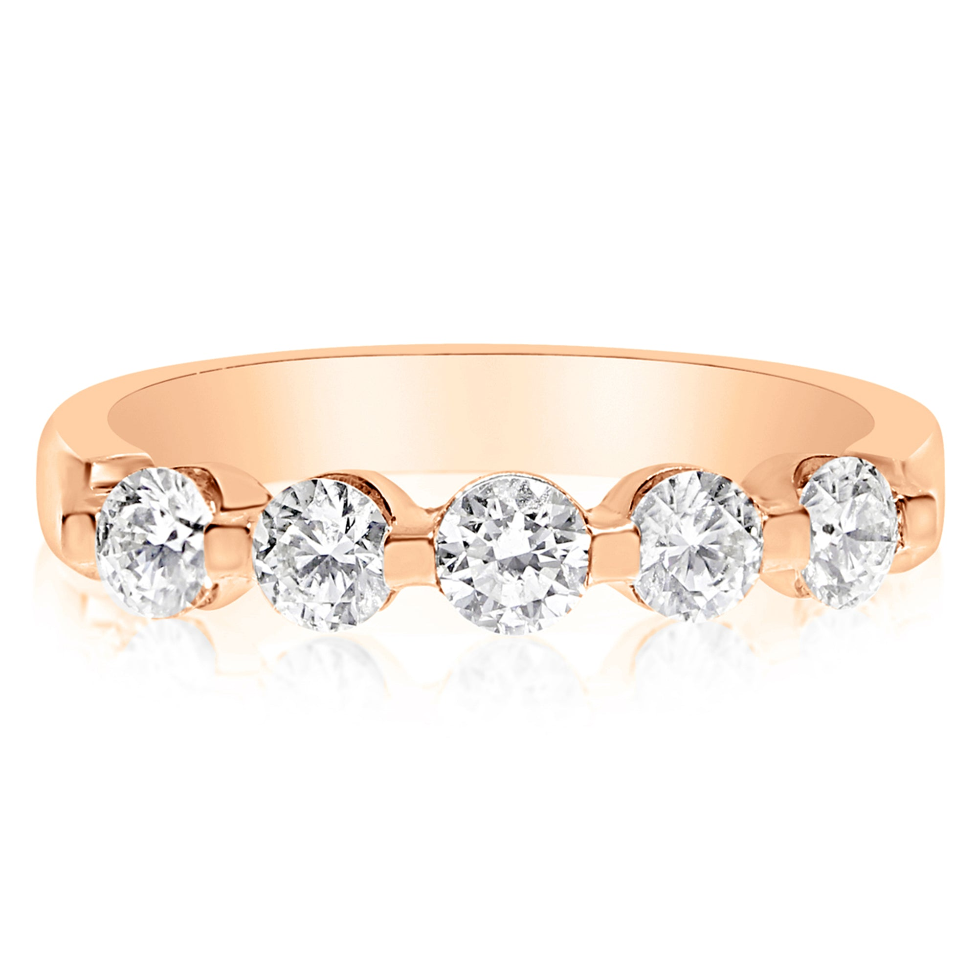 gold ring bands band wedding rose diamond champagne rivoir
