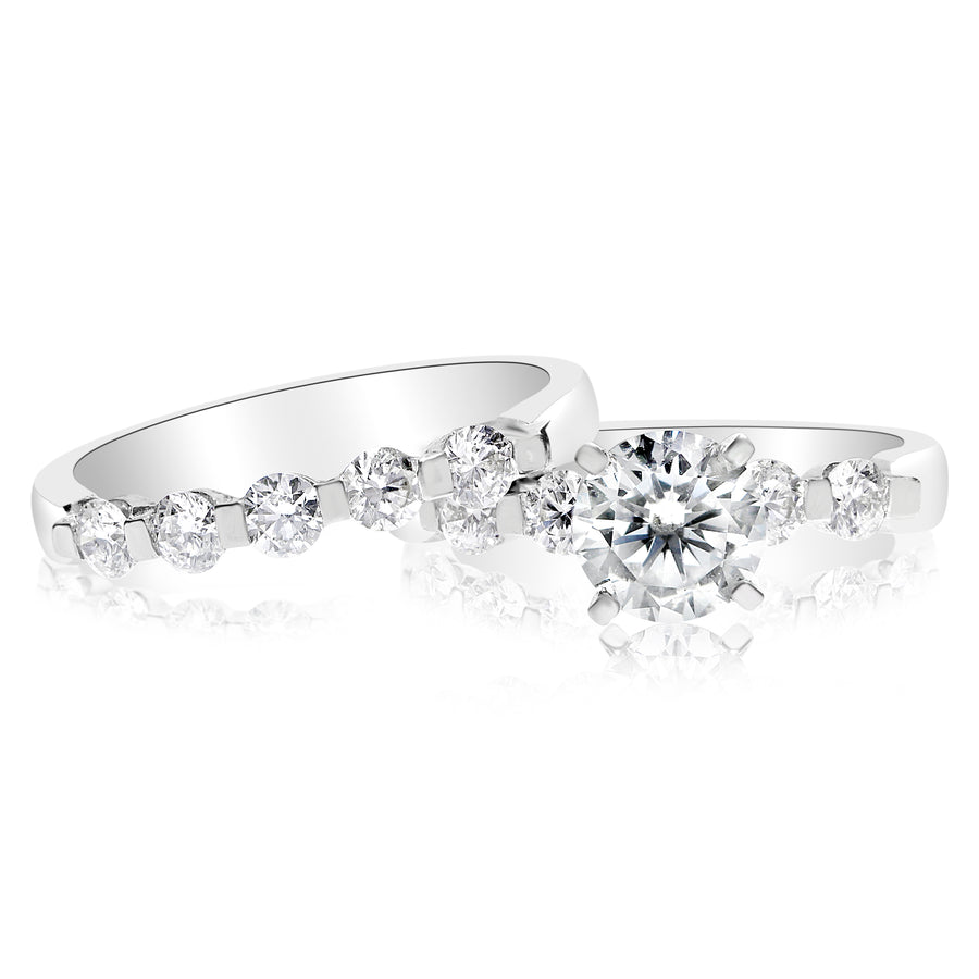 5 Stone Single Prong Bridal Set - 0.10 Carat Diamonds