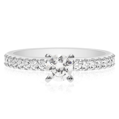 Skinny 4-Prong Engagement Ring - 2.5mm - 3/4 Way Around