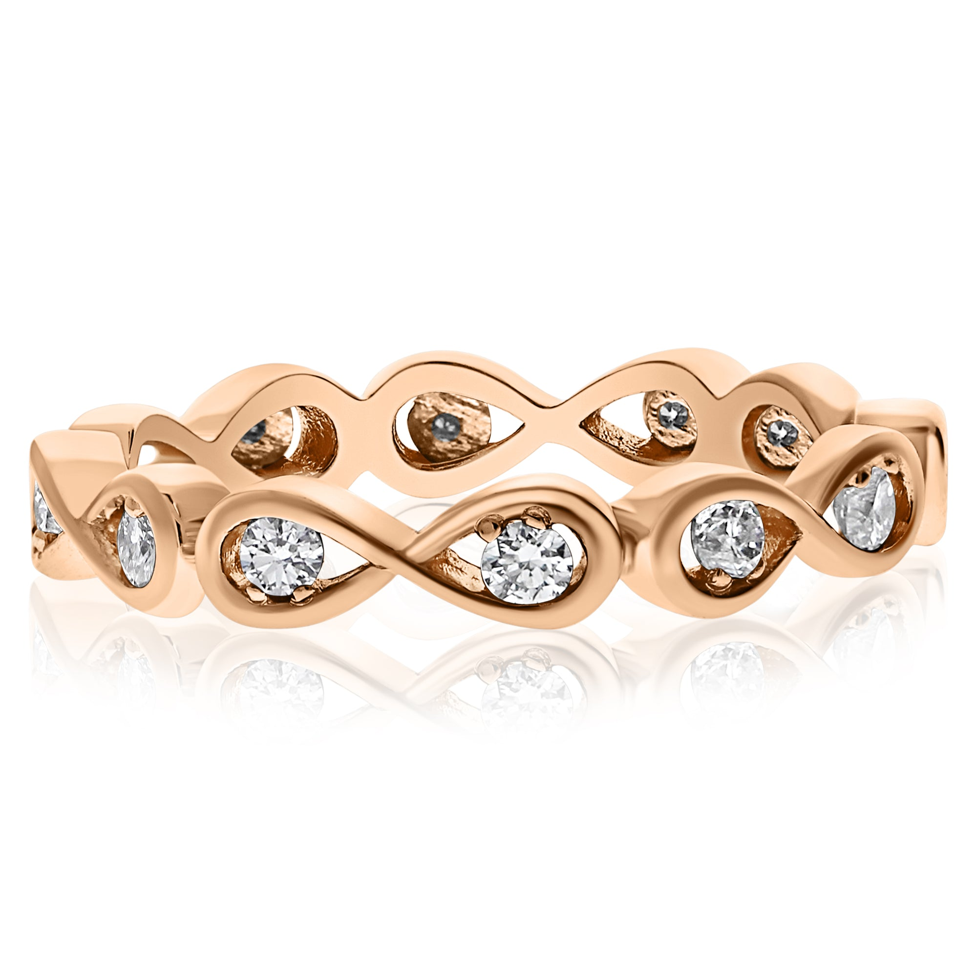 infinity claudiaband twisted diamond p cut band r round gold in rose ring anniversary white wedding