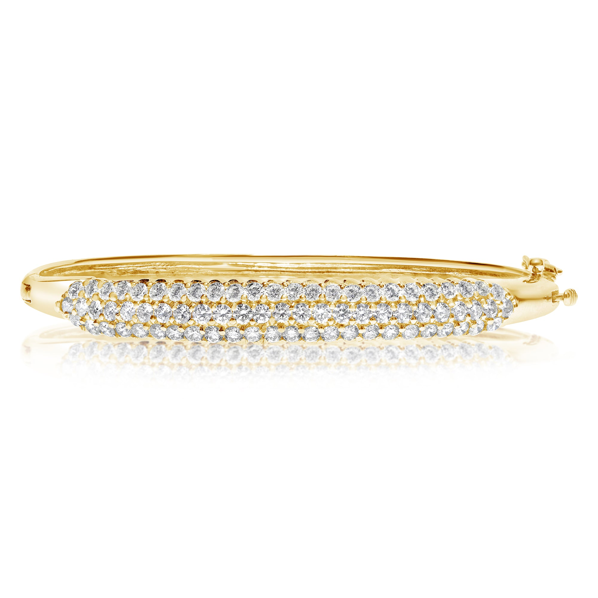 estate gold in white bracelet pave bangle round bangles diamond vintage img