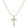 Fluted Bezel Cross Pendant with Cable Chain