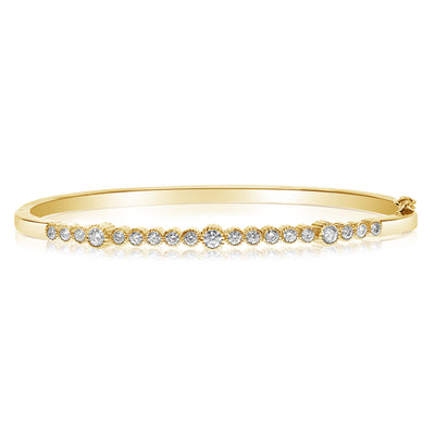 Rippled Fluted Bezel Bangle - 0.95 CTW