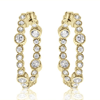Rippled Fluted Bezel Hoops