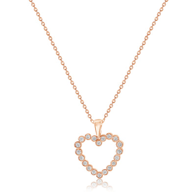 Fluted Bezel Heart Pendant with Cable Chain