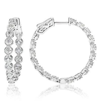Circle Rope-Framed Diamond Hoops - 1.00 CTW