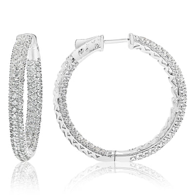Pave Diamond Hoops - Circles With Lever Lock