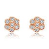 Fluted Bezel Flower Cluster Stud Earrings