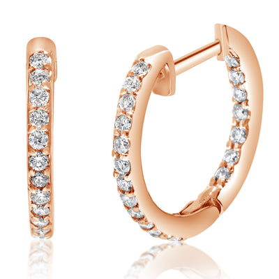 4-Prong Diamond Hoops - Circles With Wire Lock