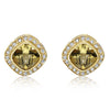 Cushion Citrine Stud Earrings